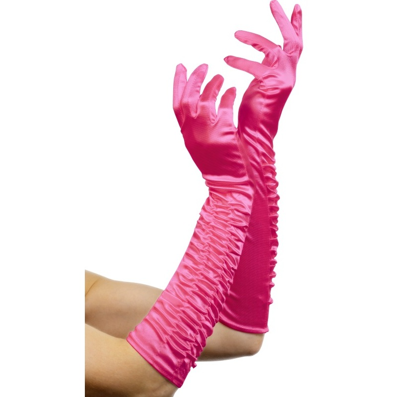 Pinke Satinhandschuhe fr den JGA