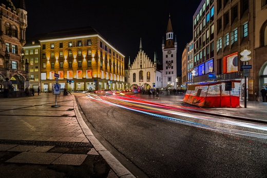 Münchener Innenstadt bei Nacht